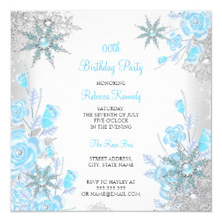 Teal Blue Rose Winter Wonderland Snowflakes Party Card