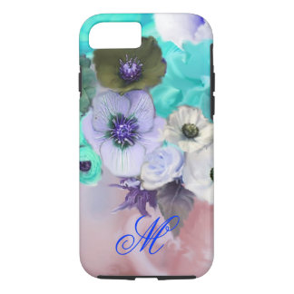 TEAL BLUE ROSES AND WHITE ANEMONE FLOWERS MONOGRAM iPhone 8/7 CASE