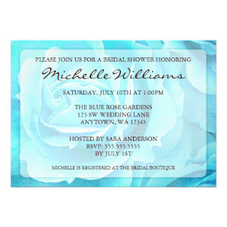 Teal Blue Roses Bridal Shower Invitations