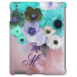 TEAL BLUE ROSES,WHITE ANEMONE FLOWERS MONOGRAM