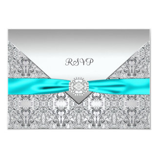 Teal Blue RSVP Card