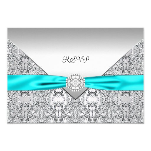Teal Blue RSVP Personalized Announcements