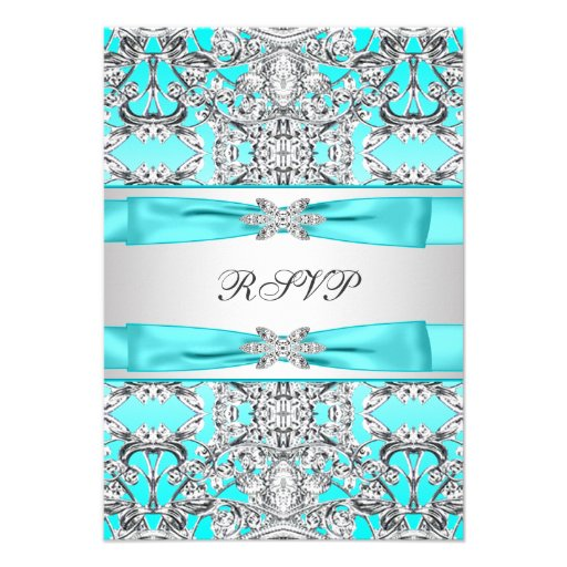 Teal Blue RSVP Personalized Invitations