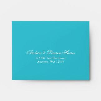 Teal Blue RSVP Return Address A2 Envelope