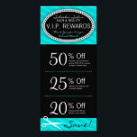 """Teal Blue Salon Coupons Rack Card<br><div class=""""desc"""">This teal &amp; black rack card features 3 Coupons on the front and salon info on the back, including a list of services. All info can be edited to suit your business needs, including Coupon amounts and details. Perfectly personalized promotional materials for hairdressers, hair salons, spas and other companies in...</div>"""