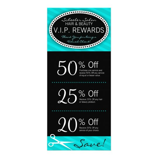 Teal Blue Salon Coupons Rack Card