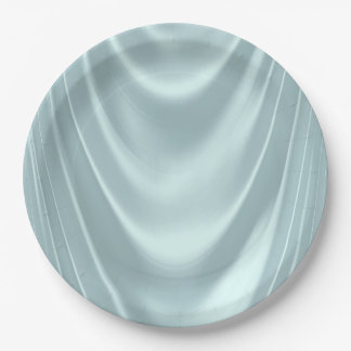 Teal Blue Satin 9 Inch Paper Plate