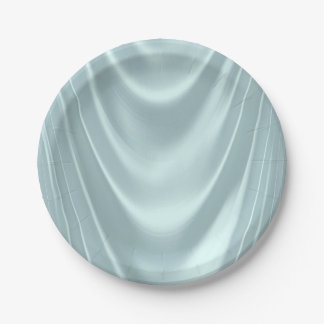 Teal Blue Satin 7 Inch Paper Plate