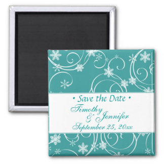 Teal blue save the Date Winter Wedding Magnet