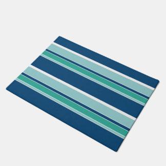 Teal Blue Seafoam Green White Stripes Pattern Doormat