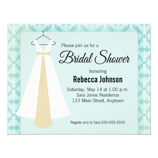 Teal blue & Silhouette Gown Bridal Shower Invite