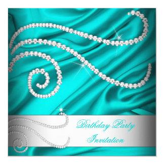 Teal Blue Silk White Diamonds Birthday Party Invitation