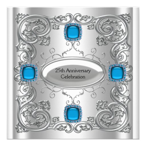 Teal Blue Silver Anniversary Party Announcement