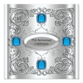 """Teal Blue Silver Anniversary Party 5.25"""" Square Invitation Card"""