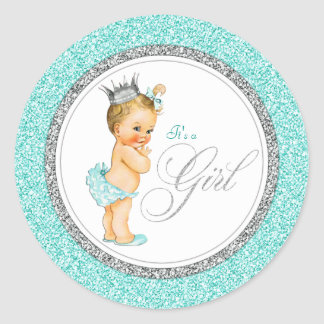 Teal Blue Silver Baby Shower Classic Round Sticker