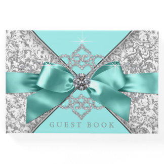 Teal Blue Silver Birthday Party Wedding Guest Book