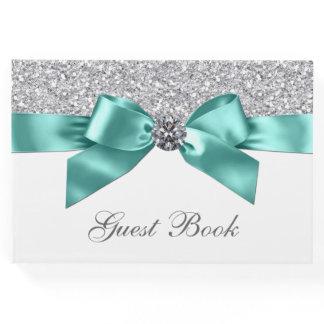 Teal Blue Silver Birthday Wedding Guest Book