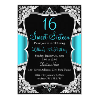 Teal Blue Silver Black Tiara Sweet 16 Invitation