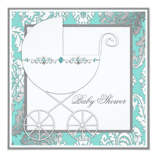 Teal Blue Silver Carriage Baby Shower Invitations