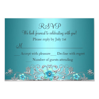 Teal Blue Silver Floral Swirl RSVP 3.5x5 Paper Invitation Card