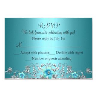 Teal Blue Silver Floral Swirl RSVP Card