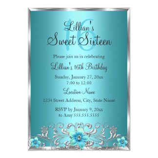 Teal Blue Silver Floral Swirl Sweet 16 Invitation