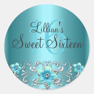 Teal Blue Silver Floral Swirl Sweet 16 Sticker