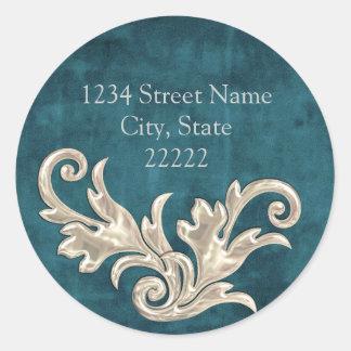Teal Blue Silver Flourishes Return Address Classic Round Sticker