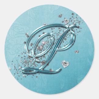 Teal Blue Silver Glitter Script Text Monogram P Classic Round Sticker