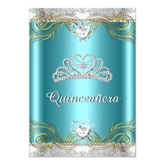 Teal Blue Silver Gold Quinceanera Birthday Party 2 Card