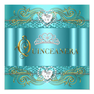 Teal Blue Silver Gold Quinceanera Birthday Party Card