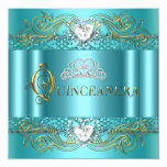 Teal Blue Silver Gold Quinceanera Birthday Party Custom Invitations