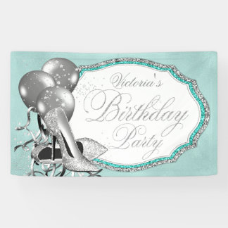 Teal Blue Silver High Heel Shoe Birthday Party Banner