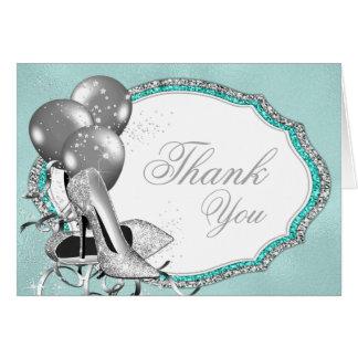 Teal Blue Silver High Heel Shoe Thank You Card