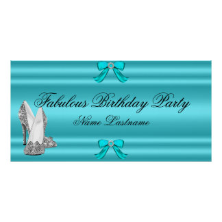 Teal Blue Silver High Heels Birthday Banner Poster