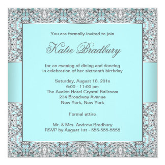 Teal Blue Silver Lace Classy Sweet Sixteen Party 5.25x5.25 Square Paper Invitation Card