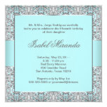 Teal Blue Silver Lace Quinceanera Personalized Invite