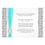 Teal Blue Silver Lace Sweet Sixteen Party Custom Invites