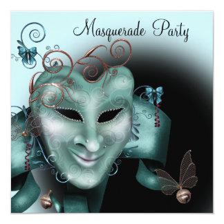 Teal Blue Silver Mask Masquerade Ball Party Card
