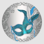 Teal Blue Silver Mask Masquerade Envelope Seal Fav Classic Round Sticker