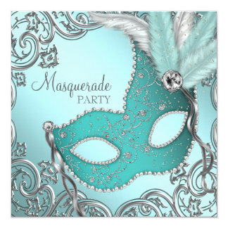 Teal Blue Silver Mask Masquerade Party 5.25x5.25 Square Paper Invitation Card
