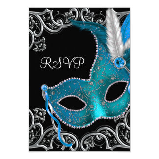 """Teal Blue Silver Mask Masquerade Party RSVP 3.5"""" X 5"""" Invitation Card"""