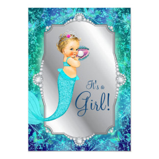Teal Blue Silver Mermaid Under The Sea Baby Shower Card