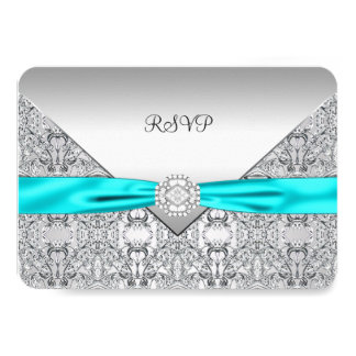 Teal Blue Silver RSVP Card