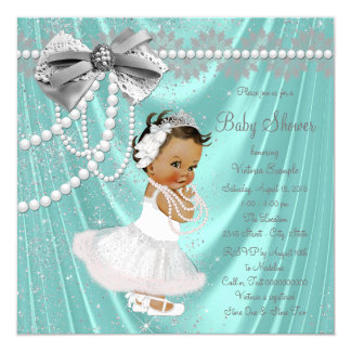 Teal Blue Silver Satin Pearl Ethnic Baby Shower Card