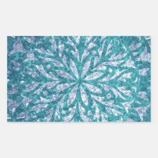 Teal Blue Silver Snowflake Rectangular Sticker