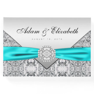 Teal Blue Silver Wedding Guest Book