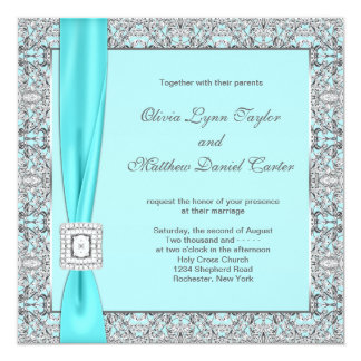 "Teal Blue Silver Wedding 5.25"" Square Invitation Card"