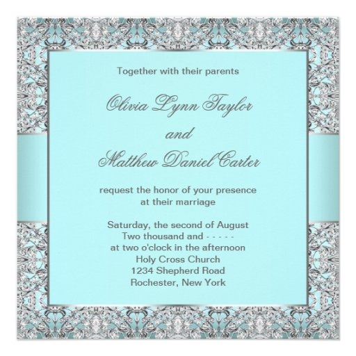 Teal And Silver Wedding Invitations: Teal Blue Silver Wedding 5.25x5.25 Square Paper Invitation