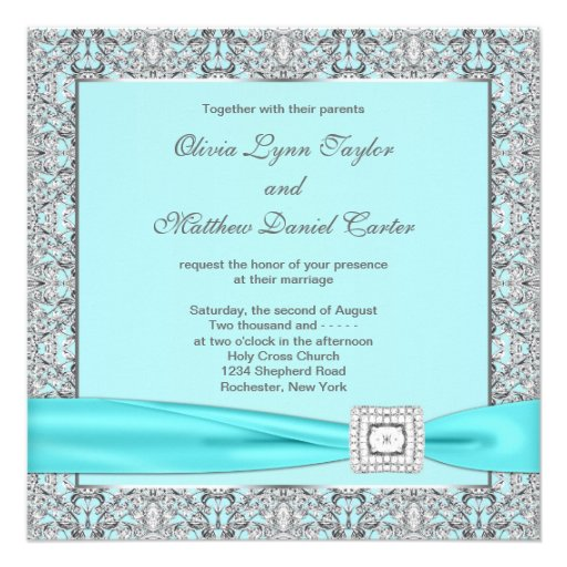 Teal Blue Silver Wedding 5.25x5.25 Square Paper Invitation